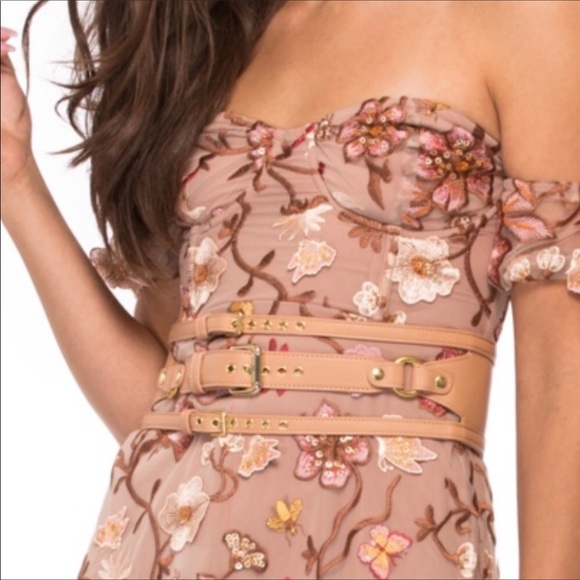 For Love And Lemons Accessories - For Love & Lemons Beige Triple Buckle Waist Belt